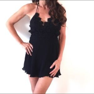 BEBE Halter dress -lingerie Black Lace slip dress
